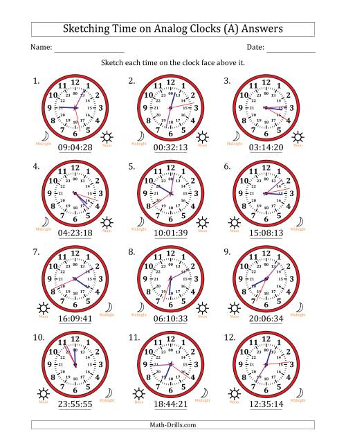The Sketching 24 Hour Time on Analog Clocks in 1 Second Intervals (12 Clocks) (A) Math Worksheet Page 2