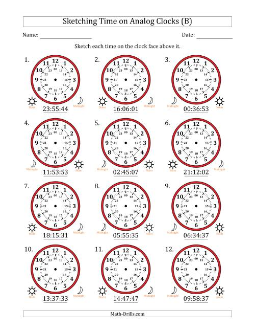 The Sketching Time on 24 Hour Analog Clocks in 1 Second Intervals (B) Math Worksheet