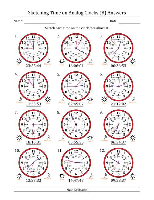 The Sketching Time on 24 Hour Analog Clocks in 1 Second Intervals (B) Math Worksheet Page 2