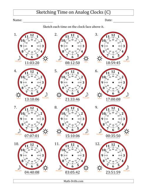 The Sketching Time on 24 Hour Analog Clocks in 1 Second Intervals (C) Math Worksheet