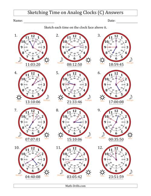 The Sketching Time on 24 Hour Analog Clocks in 1 Second Intervals (C) Math Worksheet Page 2