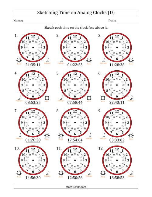 The Sketching Time on 24 Hour Analog Clocks in 1 Second Intervals (D) Math Worksheet