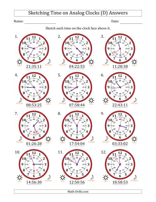The Sketching Time on 24 Hour Analog Clocks in 1 Second Intervals (D) Math Worksheet Page 2