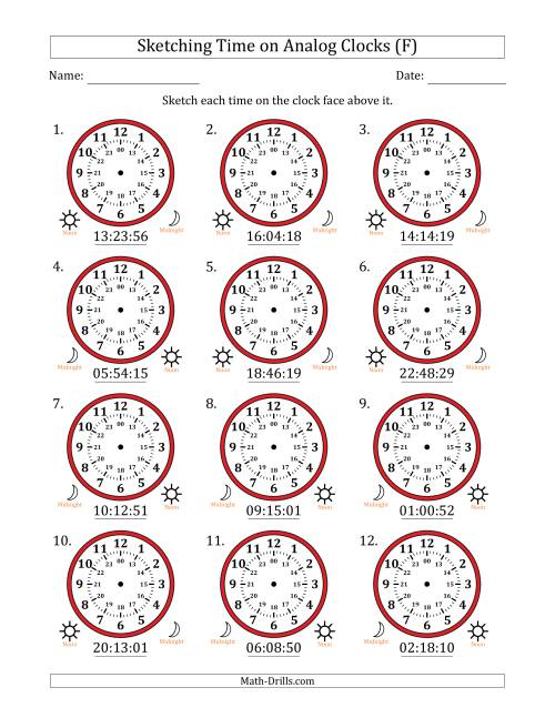 The Sketching Time on 24 Hour Analog Clocks in 1 Second Intervals (F) Math Worksheet