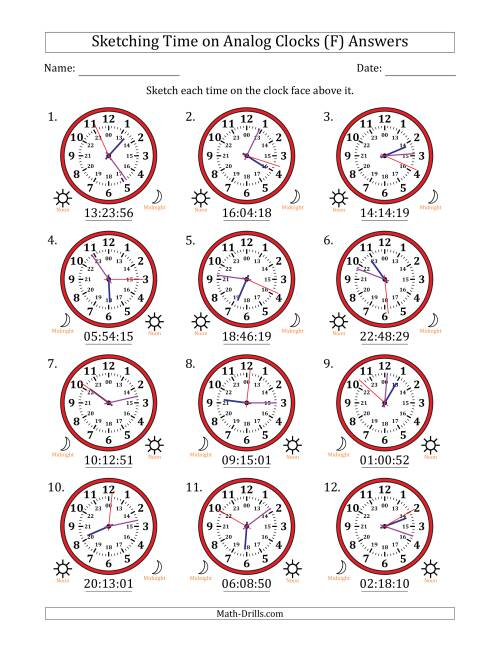 The Sketching Time on 24 Hour Analog Clocks in 1 Second Intervals (F) Math Worksheet Page 2