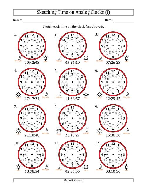 The Sketching Time on 24 Hour Analog Clocks in 1 Second Intervals (I) Math Worksheet