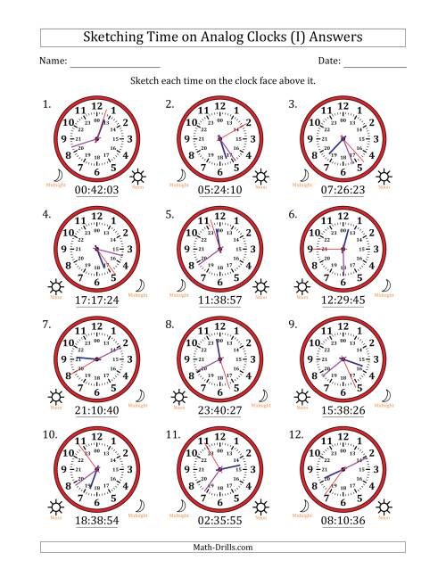 The Sketching Time on 24 Hour Analog Clocks in 1 Second Intervals (I) Math Worksheet Page 2