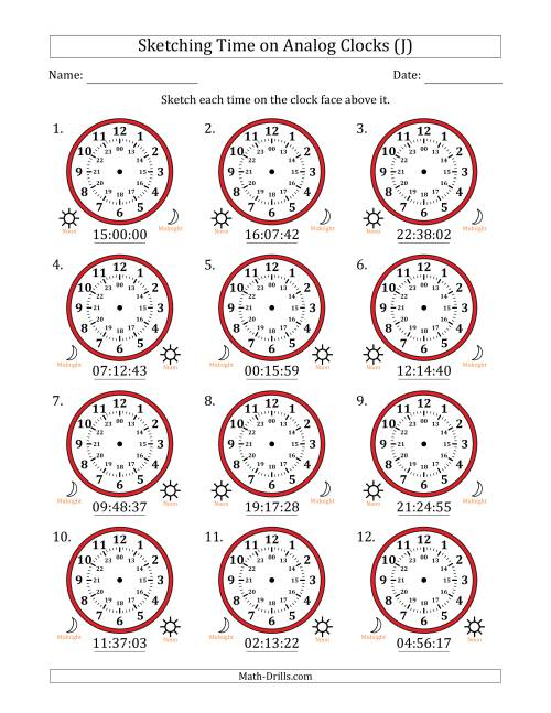 The Sketching Time on 24 Hour Analog Clocks in 1 Second Intervals (J) Math Worksheet