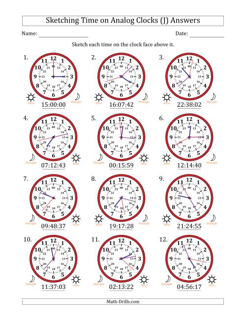 The Sketching Time on 24 Hour Analog Clocks in 1 Second Intervals (J) Math Worksheet Page 2