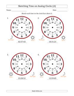 Sketching 24 Hour Time on Analog Clocks in 1 Second Intervals (4 Large Clocks)
