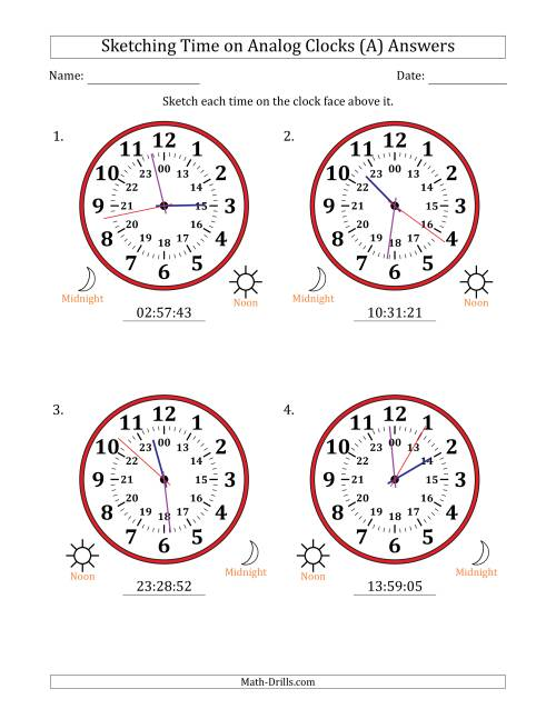 The Sketching 24 Hour Time on Analog Clocks in 1 Second Intervals (4 Large Clocks) (A) Math Worksheet Page 2