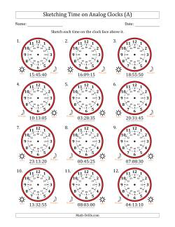 Sketching 24 Hour Time on Analog Clocks in 5 Second Intervals (12 Clocks)