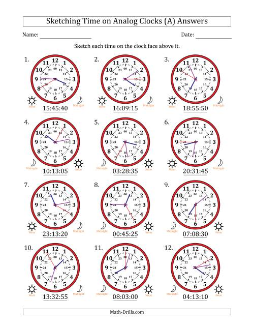 The Sketching Time on 24 Hour Analog Clocks in 5 Second Intervals (A) Math Worksheet Page 2