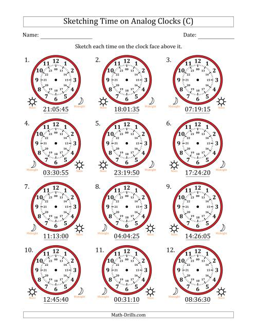 The Sketching Time on 24 Hour Analog Clocks in 5 Second Intervals (C) Math Worksheet