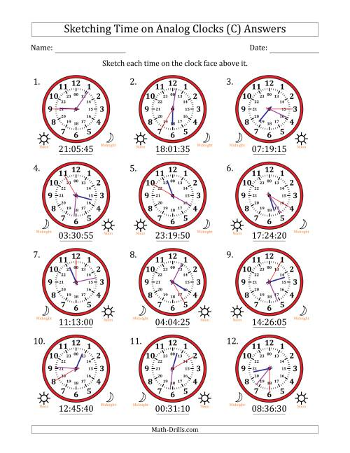 The Sketching Time on 24 Hour Analog Clocks in 5 Second Intervals (C) Math Worksheet Page 2