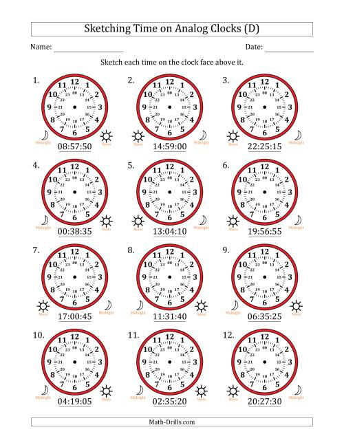 The Sketching Time on 24 Hour Analog Clocks in 5 Second Intervals (D) Math Worksheet