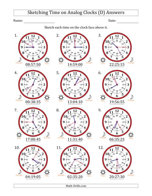 The Sketching Time on 24 Hour Analog Clocks in 5 Second Intervals (D) Math Worksheet Page 2