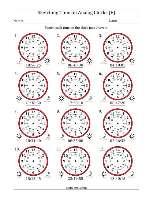 The Sketching Time on 24 Hour Analog Clocks in 5 Second Intervals (E) Math Worksheet