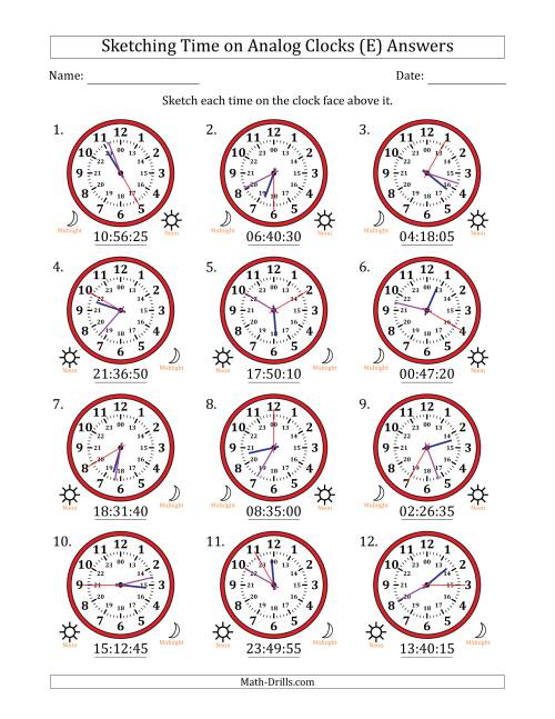 The Sketching Time on 24 Hour Analog Clocks in 5 Second Intervals (E) Math Worksheet Page 2