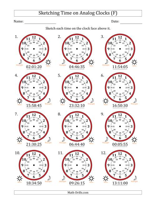 The Sketching Time on 24 Hour Analog Clocks in 5 Second Intervals (F) Math Worksheet