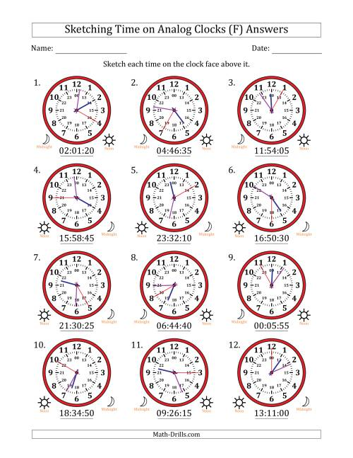 The Sketching Time on 24 Hour Analog Clocks in 5 Second Intervals (F) Math Worksheet Page 2