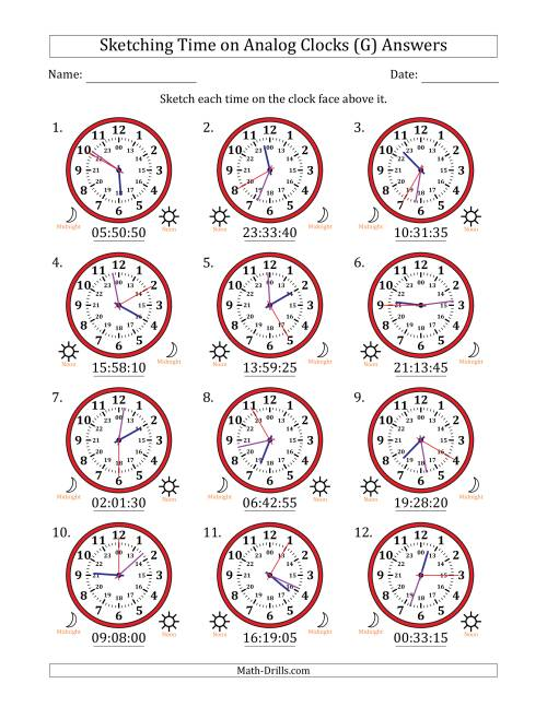 The Sketching Time on 24 Hour Analog Clocks in 5 Second Intervals (G) Math Worksheet Page 2