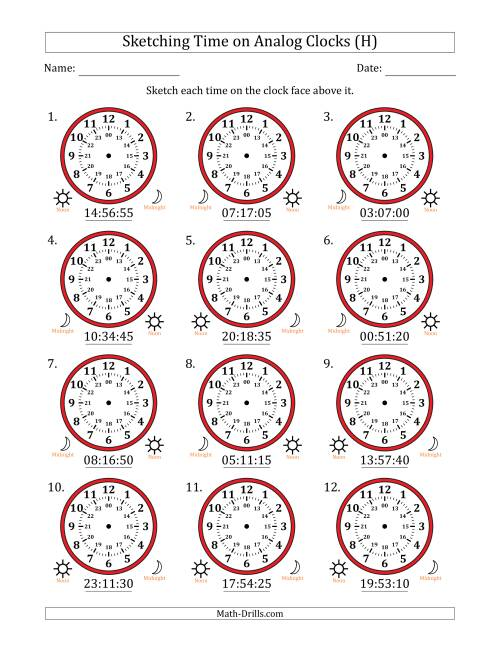 The Sketching Time on 24 Hour Analog Clocks in 5 Second Intervals (H) Math Worksheet