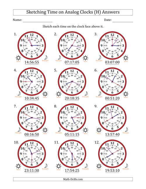 The Sketching Time on 24 Hour Analog Clocks in 5 Second Intervals (H) Math Worksheet Page 2