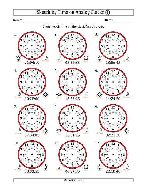 The Sketching Time on 24 Hour Analog Clocks in 5 Second Intervals (I) Math Worksheet