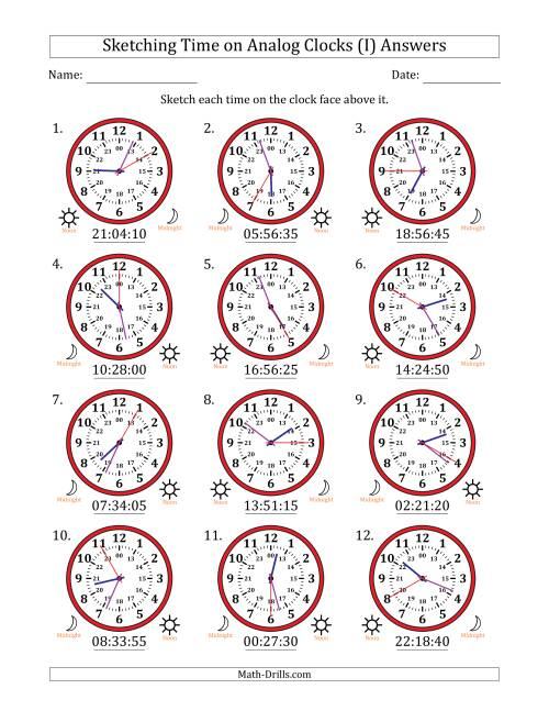 The Sketching Time on 24 Hour Analog Clocks in 5 Second Intervals (I) Math Worksheet Page 2