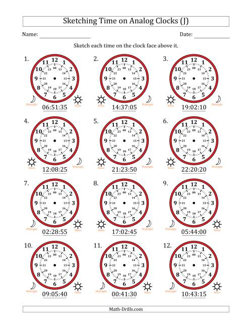 The Sketching 24 Hour Time on Analog Clocks in 5 Second Intervals (12 Clocks) (J) Math Worksheet