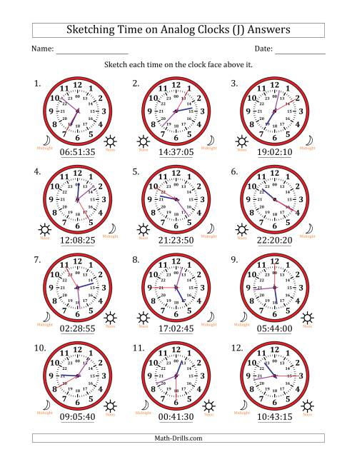 The Sketching 24 Hour Time on Analog Clocks in 5 Second Intervals (12 Clocks) (J) Math Worksheet Page 2