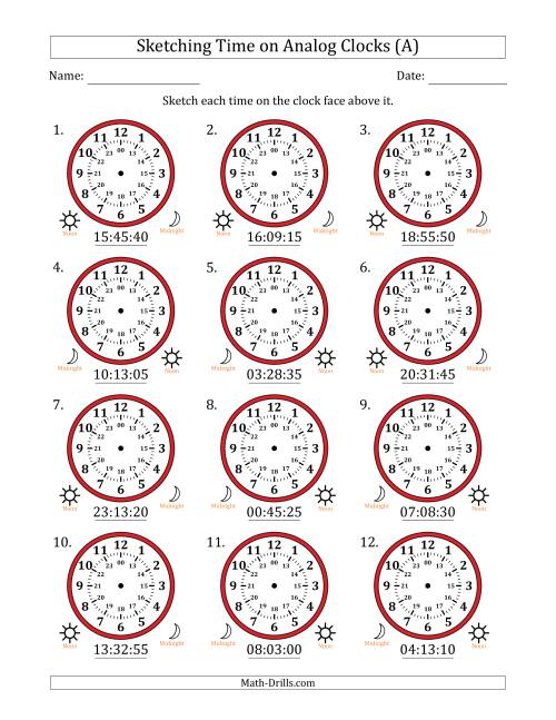 The Sketching Time on 24 Hour Analog Clocks in 5 Second Intervals (All) Math Worksheet