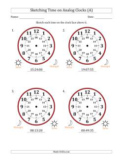 Sketching 24 Hour Time on Analog Clocks in 5 Second Intervals (4 Large Clocks)