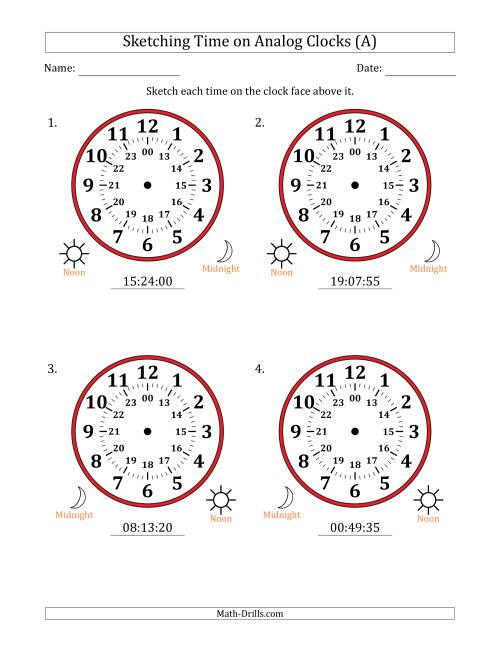 The Sketching 24 Hour Time on Analog Clocks in 5 Second Intervals (4 Large Clocks) (A) Math Worksheet