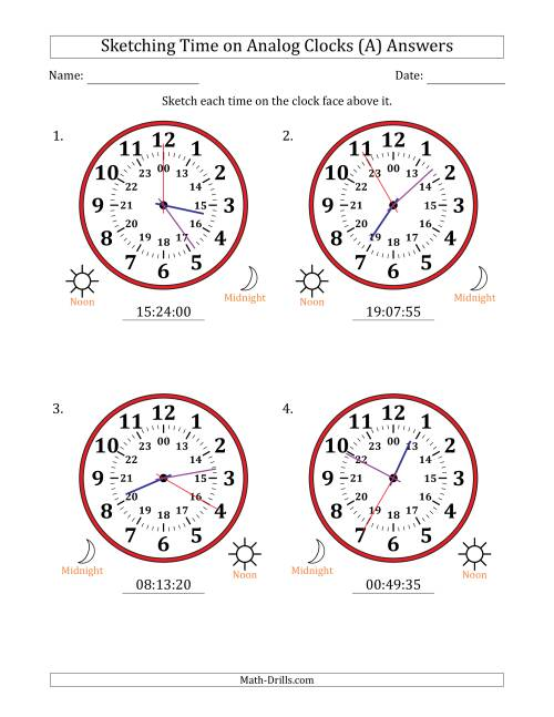 The Sketching 24 Hour Time on Analog Clocks in 5 Second Intervals (4 Large Clocks) (A) Math Worksheet Page 2