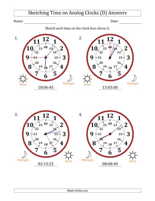 The Sketching Time on 24 Hour Analog Clocks in 5 Second Intervals (Large Clocks) (D) Math Worksheet Page 2