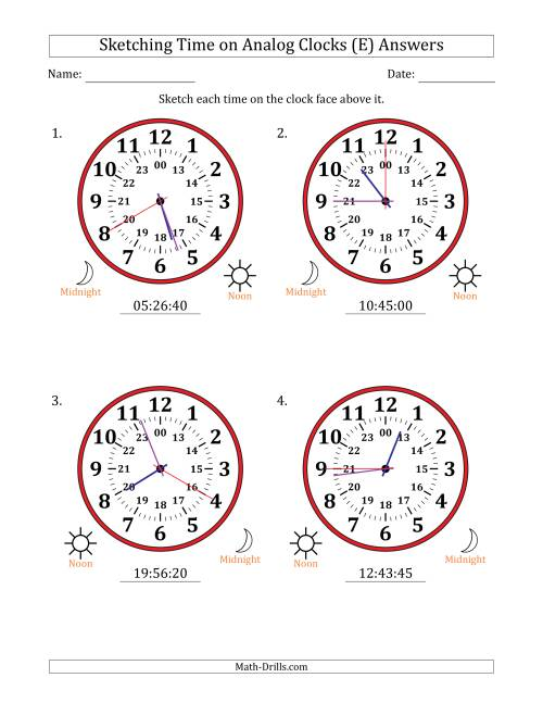 The Sketching Time on 24 Hour Analog Clocks in 5 Second Intervals (Large Clocks) (E) Math Worksheet Page 2