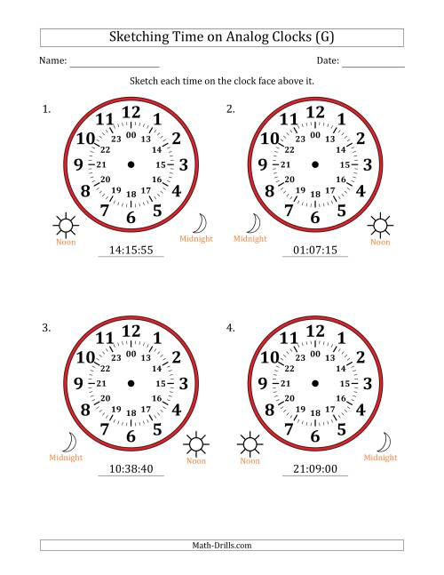 The Sketching Time on 24 Hour Analog Clocks in 5 Second Intervals (Large Clocks) (G) Math Worksheet