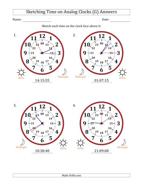 The Sketching Time on 24 Hour Analog Clocks in 5 Second Intervals (Large Clocks) (G) Math Worksheet Page 2