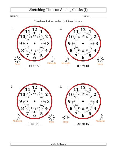 The Sketching 24 Hour Time on Analog Clocks in 5 Second Intervals (4 Large Clocks) (I) Math Worksheet