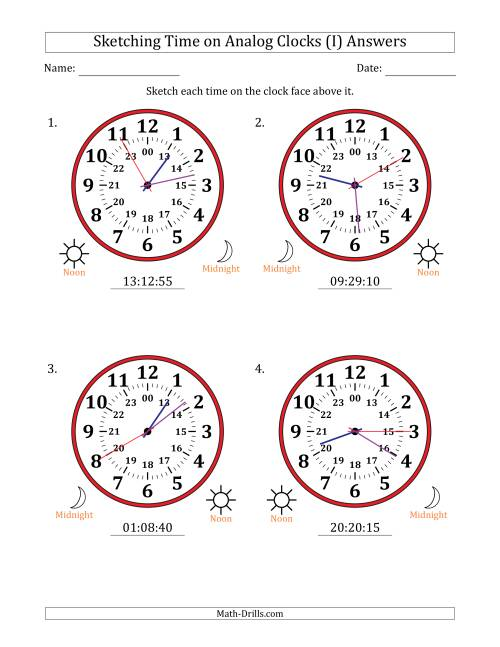 The Sketching 24 Hour Time on Analog Clocks in 5 Second Intervals (4 Large Clocks) (I) Math Worksheet Page 2
