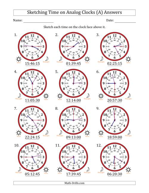 The Sketching 24 Hour Time on Analog Clocks in 15 Second Intervals (12 Clocks) (A) Math Worksheet Page 2
