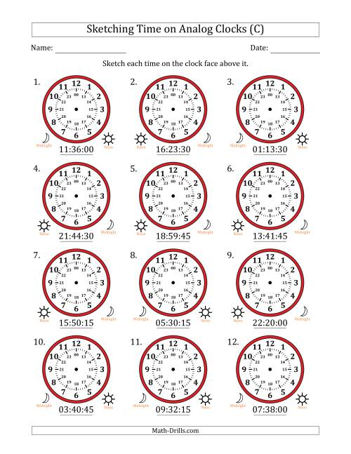 The Sketching Time on 24 Hour Analog Clocks in 15 Second Intervals (C) Math Worksheet
