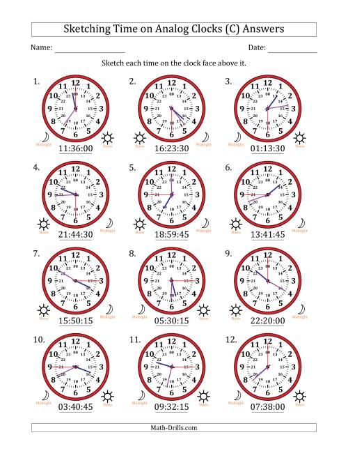 The Sketching Time on 24 Hour Analog Clocks in 15 Second Intervals (C) Math Worksheet Page 2