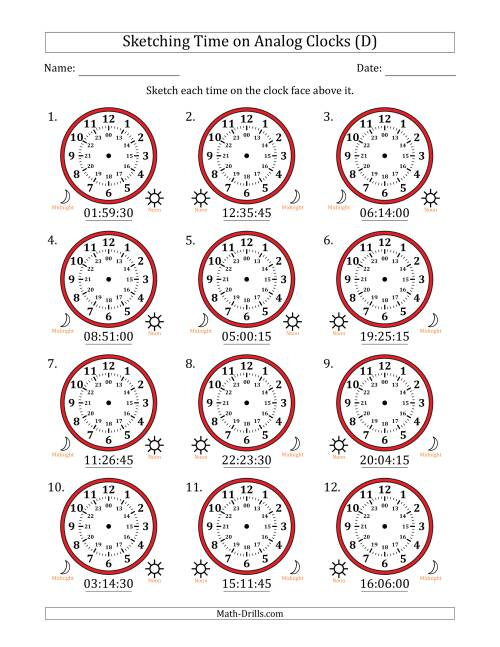 The Sketching 24 Hour Time on Analog Clocks in 15 Second Intervals (12 Clocks) (D) Math Worksheet