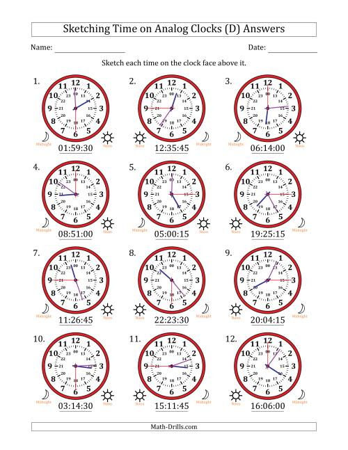 The Sketching 24 Hour Time on Analog Clocks in 15 Second Intervals (12 Clocks) (D) Math Worksheet Page 2