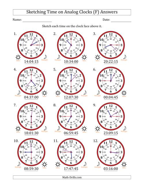 The Sketching 24 Hour Time on Analog Clocks in 15 Second Intervals (12 Clocks) (F) Math Worksheet Page 2