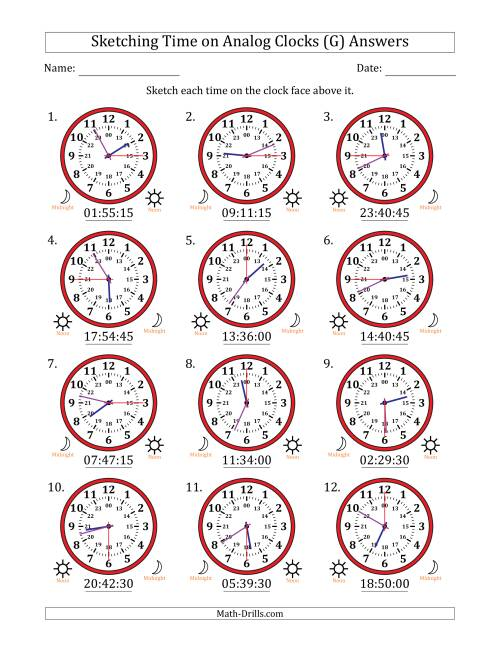 The Sketching 24 Hour Time on Analog Clocks in 15 Second Intervals (12 Clocks) (G) Math Worksheet Page 2
