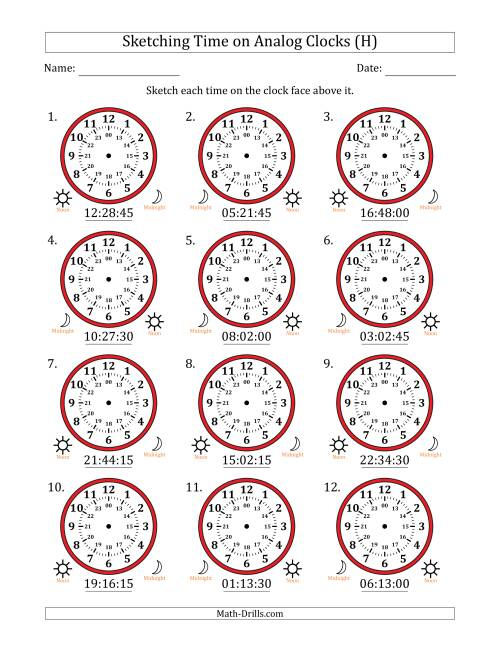 The Sketching Time on 24 Hour Analog Clocks in 15 Second Intervals (H) Math Worksheet